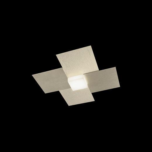 LED-DECKENLEUCHTE - Champagner, Design, Metall (27,5/27,5/5,5cm)