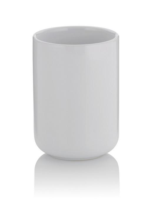 ZAHNPUTZBECHER - Weiß, Basics, Keramik (7,5/10cm) - Kela