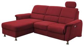 WOHNLANDSCHAFT Rot Mikrofaser  - Chromfarben/Rot, MODERN, Textil/Metall (165/231cm) - Cantus