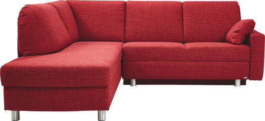 WOHNLANDSCHAFT in Textil Rot - Rot/Alufarben, KONVENTIONELL, Textil/Metall (208/226cm) - Sedda