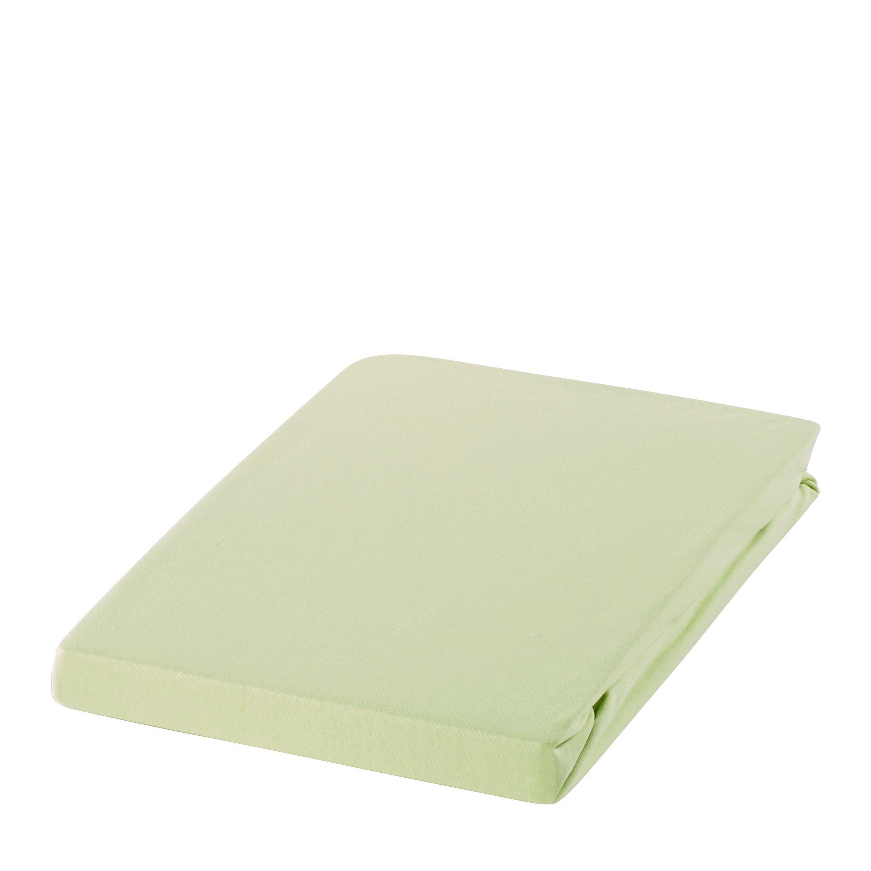 SPANNBETTTUCH Zwirn-Jersey Hellgrün bügelfrei, für Wasserbetten geeignet - Hellgrün, Basics, Textil (150/200cm) - ESTELLA