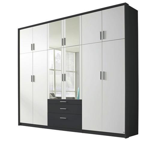 DREHTÜRENSCHRANK in Grau, Weiß  - Weiß/Grau, Design, Holzwerkstoff/Kunststoff (275/231/56cm) - Carryhome