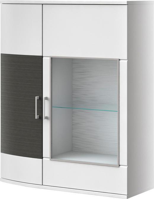 KOMMODE Graphitfarben, Weiß - Chromfarben/Graphitfarben, Design, Glas/Holzwerkstoff (105/127,6/40,7cm) - XORA