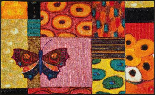 FUßMATTE 75/120 cm Graphik Multicolor, Rot - Rot/Multicolor, Basics, Kunststoff/Textil (75/120cm) - Esposa