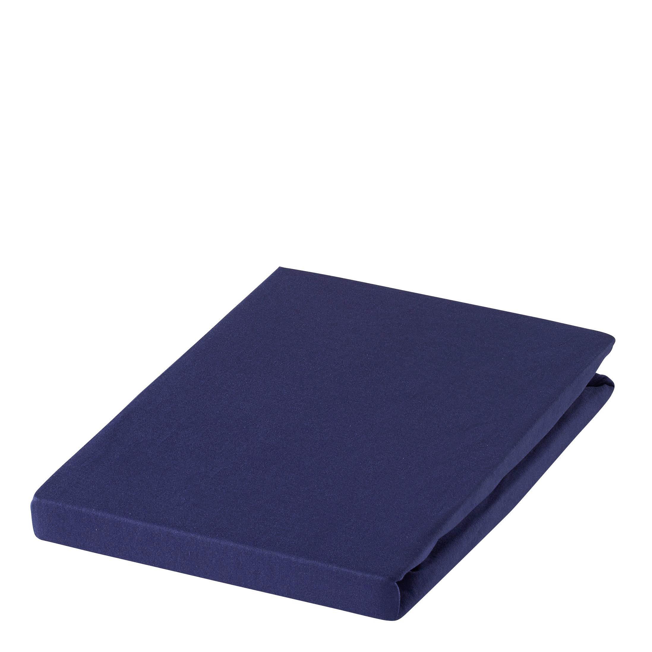 SPANNBETTTUCH Zwirn-Jersey Dunkelblau bügelfrei, für Wasserbetten geeignet - Dunkelblau, Basics, Textil (150/200cm) - ESTELLA