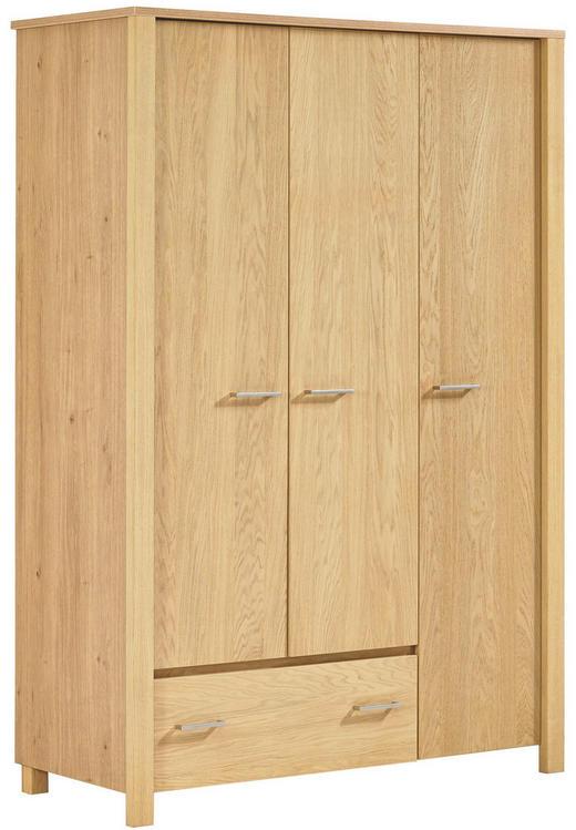 KLEIDERSCHRANK 3  -türig Eiche furniert Eichefarben - Eichefarben/Silberfarben, Design, Holz (140,3/200,5/58,3cm) - Paidi