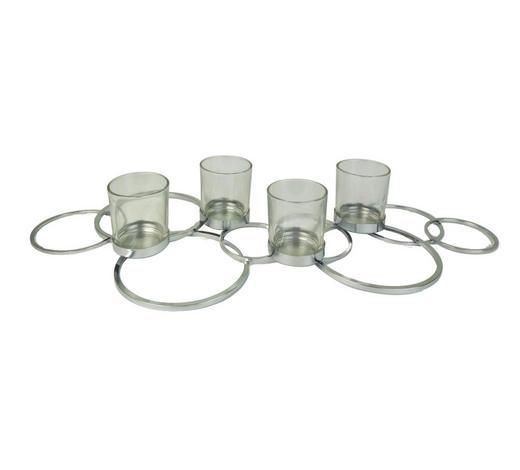 TEELICHTHALTER - Silberfarben, Design, Glas/Metall (64/27,5/9cm) - Ambia Home