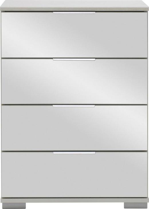NACHTKÄSTCHEN in Weiß - Alufarben/Weiß, Design, Glas/Holzwerkstoff (52 74 38cm) - Carryhome