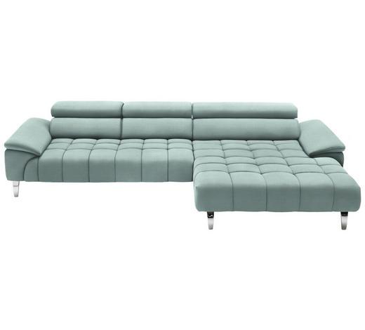 WOHNLANDSCHAFT in Textil Mintgrün  - Chromfarben/Mintgrün, Design, Textil/Metall (329/190cm) - Beldomo Style