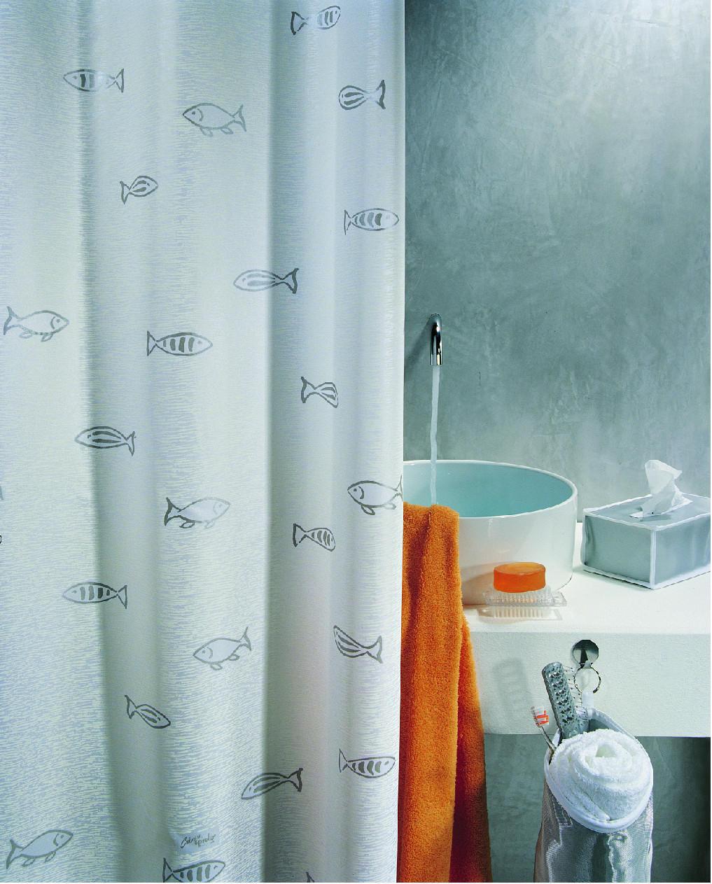 DUSCHVORHANG  Silberfarben, Weiß 180/200 cm - Silberfarben/Weiß, Basics, Textil (180/200cm) - SPIRELLA