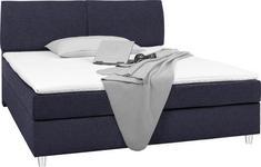 BOXSPRINGBETT 140 cm   x 200 cm   in Textil Blau - Chromfarben/Blau, Design, Kunststoff/Textil (140/200cm) - Hom`in