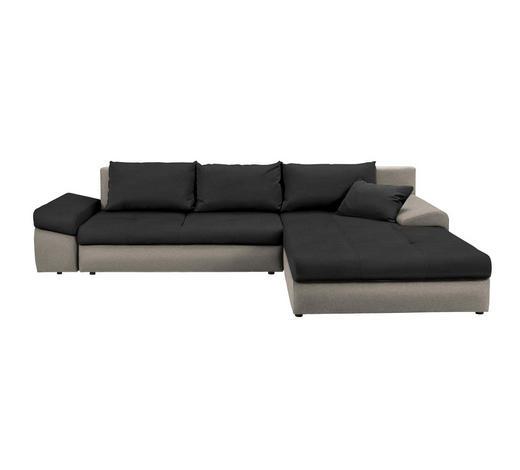 WOHNLANDSCHAFT Schwarz, Beige Webstoff - Beige/Schwarz, Design, Kunststoff/Textil (313/215cm) - Carryhome