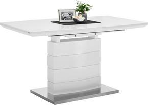 MATBORD - vit/rostfritt stål-färgad, Design, metall/glas (140(180)/80/76cm) - Carryhome