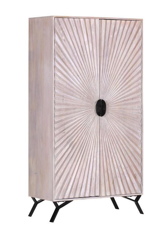 SCHRANK Mangoholz massiv Schwarz, Weiß - Schwarz/Weiß, ROMANTIK / LANDHAUS, Holz/Metall (95/180/48cm) - Landscape