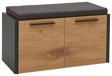 GARDEROBENBANK 86/45/41 cm  - Eichefarben/Schwarz, Design, Holz/Metall (86/45/41cm) - Dieter Knoll