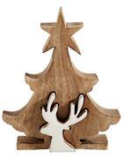 Deko Weihnachtsbaum  Creme, Naturfarben   - Creme/Naturfarben, Holz (15/17,5/3,5cm) - X-Mas