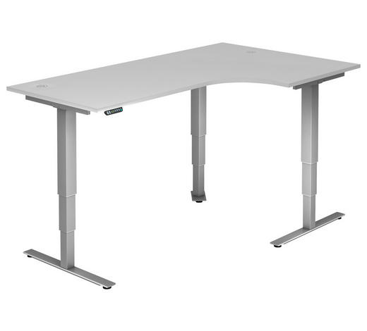 SCHREIBTISCH - Silberfarben/Weiß, KONVENTIONELL, Holzwerkstoff/Metall (200/63,5-128,5/120cm)
