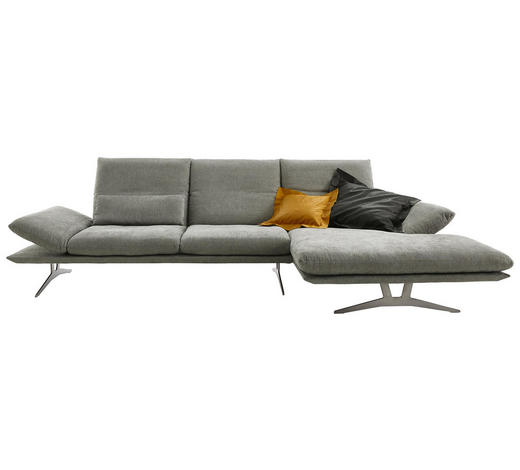 WOHNLANDSCHAFT in Textil Grau - Grau, Design, Textil/Metall (314/159cm) - Koinor