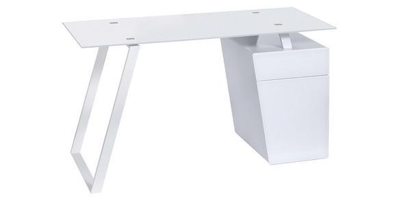SCHREIBTISCH - Weiß, Design, Glas/Holzwerkstoff (140/76/60cm) - Voleo
