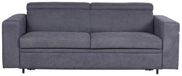 SCHLAFSOFA in Textil Dunkelgrau  - Dunkelgrau/Schwarz, KONVENTIONELL, Kunststoff/Textil (206/83-100/100cm) - Venda