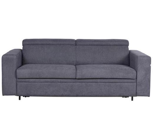 ZOFA S POSTELJNO FUNKCIJO,  temno siva tekstil  - temno siva/črna, Konvencionalno, umetna masa/tekstil (206/83-100/100cm) - Venda