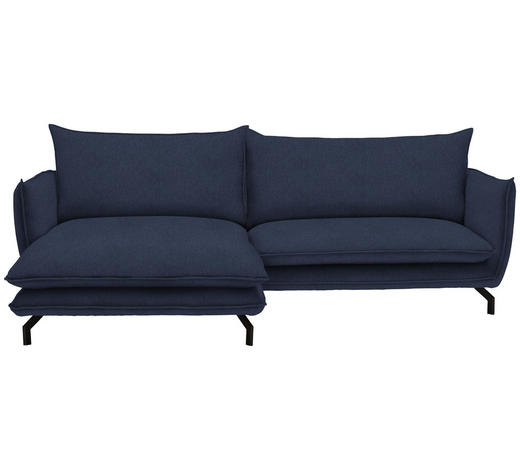 WOHNLANDSCHAFT in Textil Dunkelblau - Schwarz/Dunkelblau, MODERN, Textil/Metall (175/259cm) - Hom`in