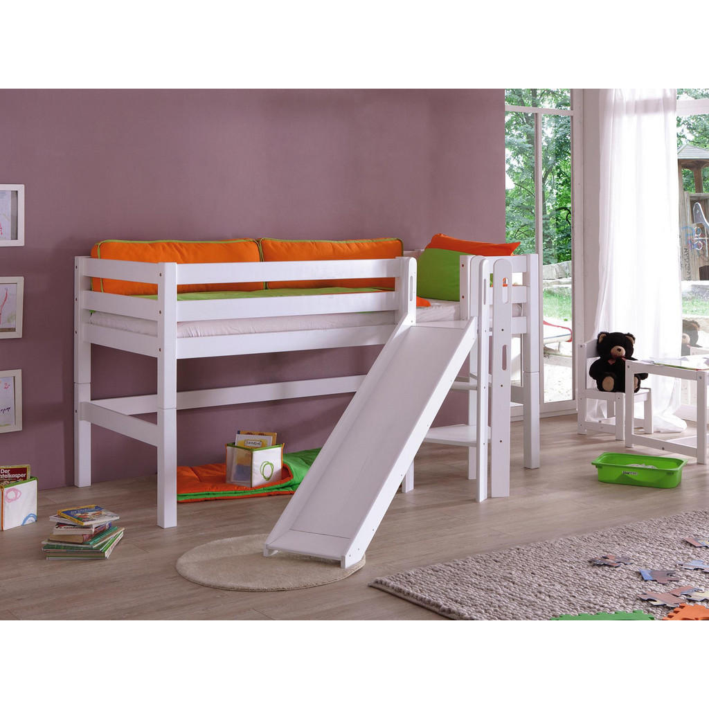 SPIELBETT Buche massiv 90/200 cm Weiß   Kinderzimmer > Kinderbetten > Hochbetten   Buchenholz   Livetastic