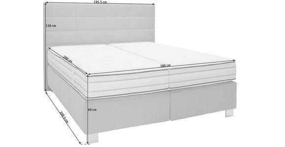 BOXSPRINGBETT 180/200 cm  in Hellgrau  - Hellgrau/Alufarben, KONVENTIONELL, Textil/Metall (180/200cm) - Dieter Knoll