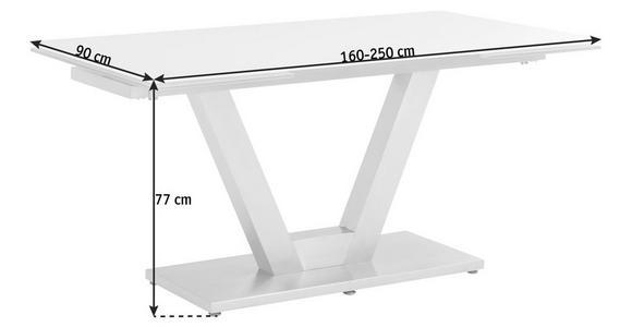 ESSTISCH in Edelstahlfarben, Weiß - Edelstahlfarben/Weiß, Design, Glas/Metall (160(250)/90/77cm) - Dieter Knoll