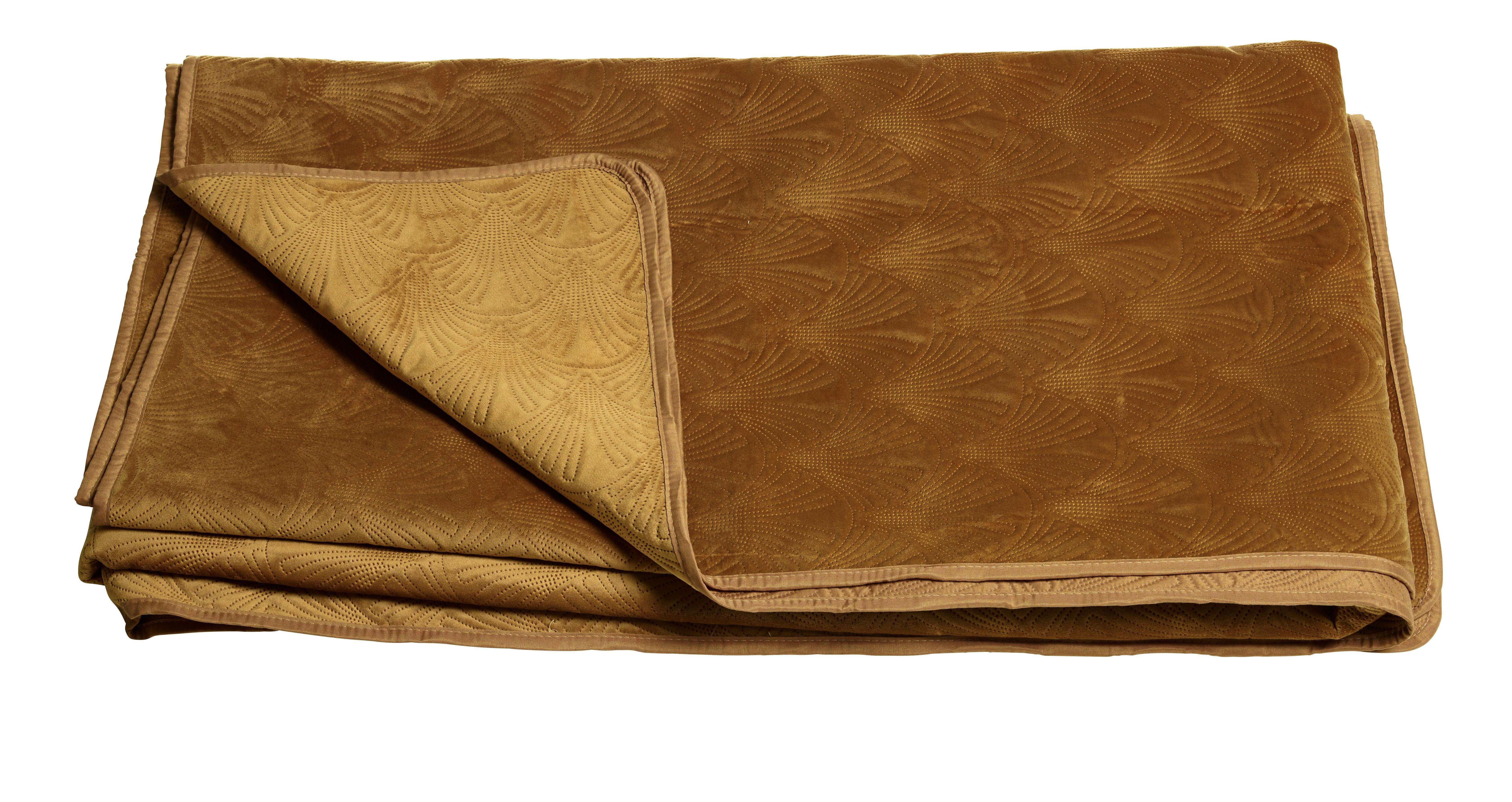 SÄNGÖVERKAST - guldfärgad, Design, textil (180/270cm)
