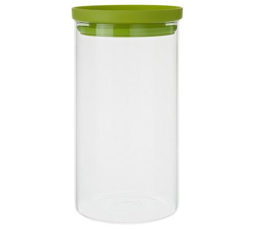 VORRATSDOSE  1,2 L - Klar/Grün, Basics, Glas/Kunststoff (9,5/18cm) - Homeware
