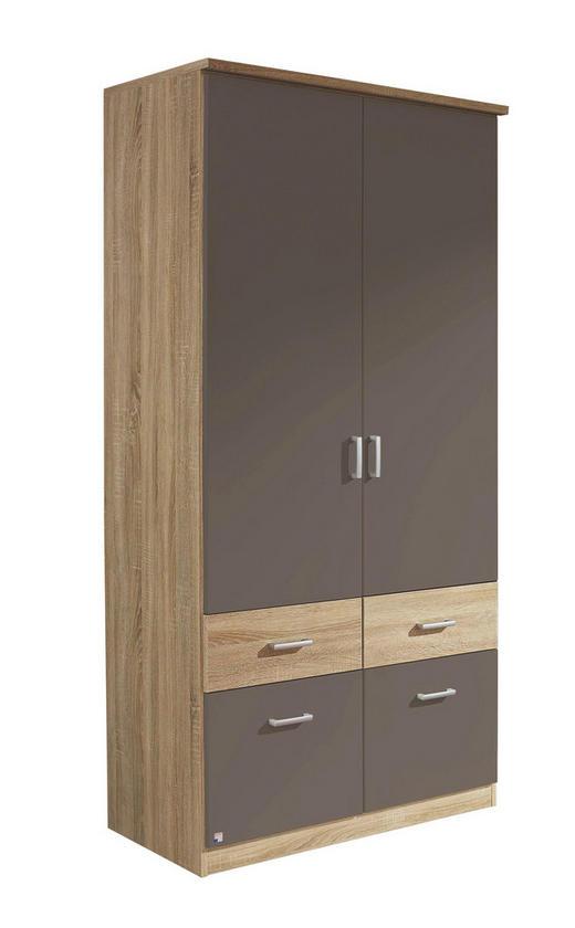 KLEIDERSCHRANK 2-türig Dunkelgrau, Sonoma Eiche - Dunkelgrau/Silberfarben, Design, Holzwerkstoff/Kunststoff (91/199/56cm) - Carryhome