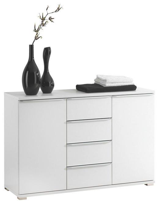 KOMMODE - Chromfarben/Weiß, Design, Holzwerkstoff/Kunststoff (120/80/40cm) - Moderano