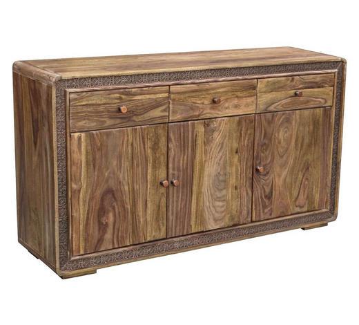 SIDEBOARD Akazie teilmassiv lackiert Sheeshamfarben  - Sheeshamfarben/Naturfarben, LIFESTYLE, Holz/Metall (150/85/40cm) - Carryhome