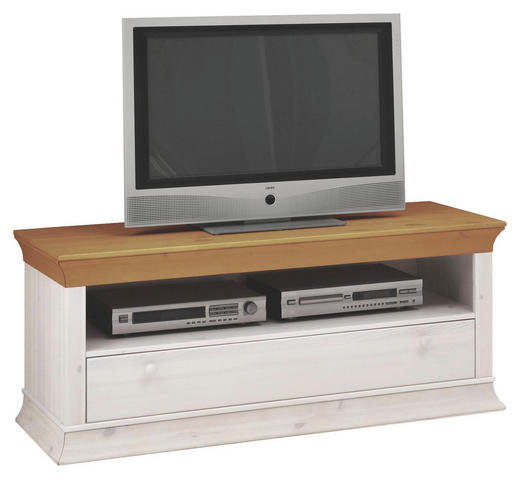 TV-ELEMENT Kiefer massiv Kieferfarben, Weiß - Weiß/Kieferfarben, Design, Holz (130/54/46cm) - Carryhome