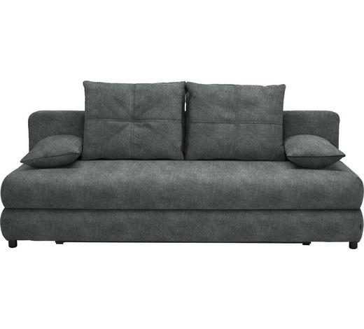 SCHLAFSOFA in Textil Grau - Schwarz/Grau, Design, Kunststoff/Textil (208/73-90/102cm) - Hom`in