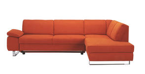 Ecksofa Orange Webstoff - Chromfarben/Orange, Design, Textil/Metall (274/198cm) - Venda