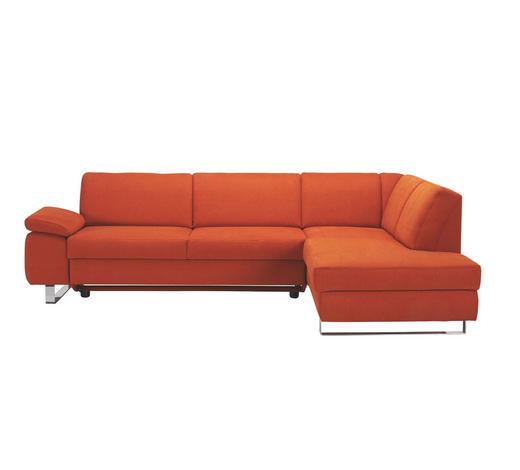 Ecksofa Orange Webstoff - Chromfarben/Orange, Design, Textil/Metall (274/198cm) - Venda