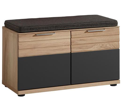 GARDEROBENBANK 85/45/40 cm - Edelstahlfarben/Eichefarben, Natur, Holzwerkstoff/Kunststoff (85/45/40cm)