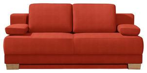 SCHLAFSOFA Rot - Eichefarben/Rot, KONVENTIONELL, Holz/Textil (200/95/101cm) - Venda