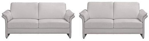 SITZGARNITUR Mikrofaser Silberfarben - Silberfarben/Schwarz, KONVENTIONELL, Kunststoff/Textil (172/85/89cm) - Pure Home Comfort