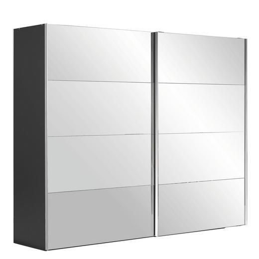 SCHWEBETÜRENSCHRANK 2  -türig Schwarz - Chromfarben/Schwarz, Design, Glas/Holzwerkstoff (280/223/68cm) - NOVEL