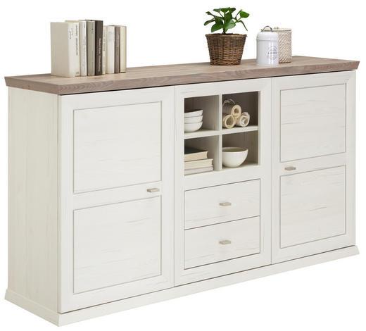 SIDEBOARD tiefgezogen, Melamin Grau, Weiß  - Weiß/Grau, Design, Holzwerkstoff/Metall (160/88,3/42,5cm) - Hom`in