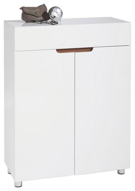 SCHUHSCHRANK Hochglanz, lackiert Nussbaumfarben, Weiß - Nussbaumfarben/Weiß, Design, Holzwerkstoff (80/105/36,5cm) - XORA