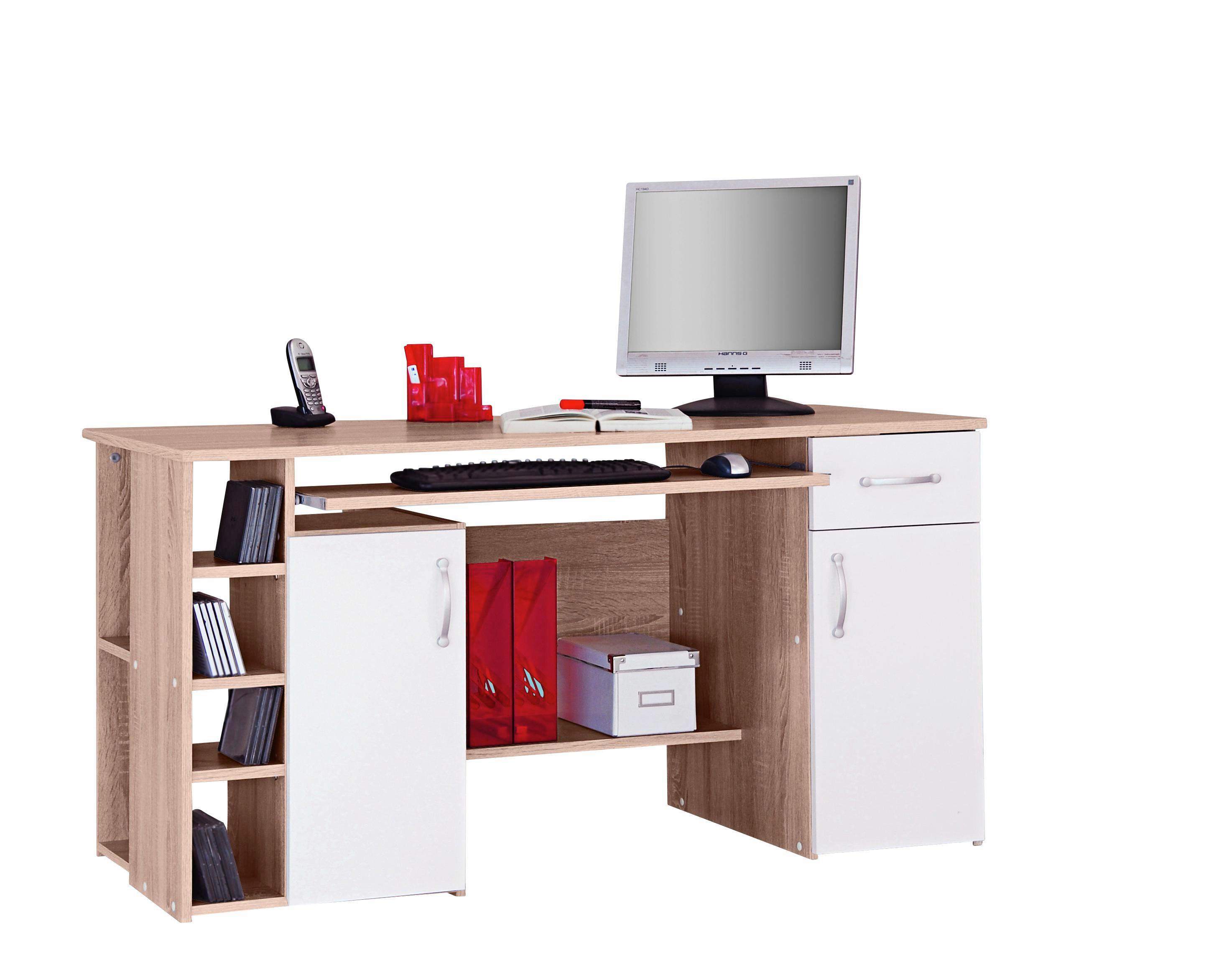 COMPUTERTISCH   Weiß/Sonoma Eiche, Design, Kunststoff (138/74/60cm