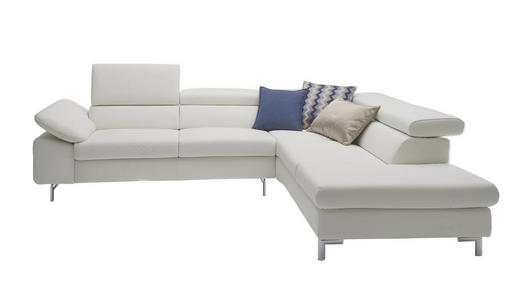 Ecksofa Echtleder Rücken echt - Silberfarben/Weiß, Design, Leder/Metall (283/222cm) - CHILLIANO