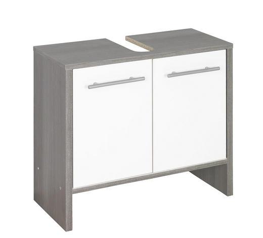 WASCHBECKENUNTERSCHRANK Weiß  - Graphitfarben/Alufarben, KONVENTIONELL, Holzwerkstoff/Kunststoff (62/55/28cm) - Xora