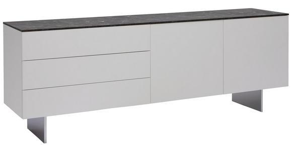 SIDEBOARD - Edelstahlfarben/Weiß, Design, Glas/Holzwerkstoff (210/77/48cm) - Dieter Knoll