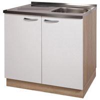SPODNJA OMARICA ZA KORITO - aluminij/bela, Design, kovina/leseni material (80/80/55cm) - Boxxx