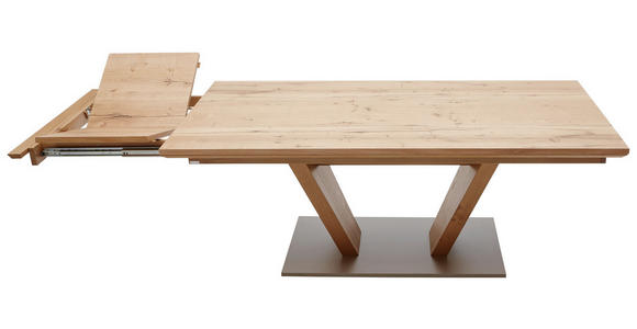 ESSTISCH Eiche furniert rechteckig Edelstahlfarben, Eichefarben - Edelstahlfarben/Eichefarben, Design, Holz/Metall (200/100/76cm) - Dieter Knoll